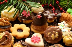 christmas sweets, cookies and decoration - stock photo