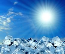 Ice cubes in blue sky Stock Illustration
