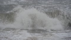 Large storm Baltic sea waves at coastline. slow motion 2 Stock Footage