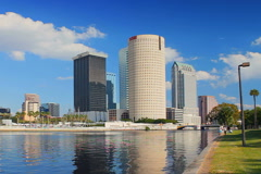 Tampa downtown skyline from across river Stock Footage