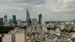 Time Lapse Pan of Skyline to Clouds - Ho Chi Minh City Vietnam Stock Footage