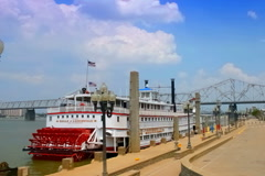 Paddleboat in dock at Waterfront Park Stock Footage