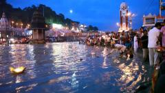People worshipping at River Ganges Stock Footage