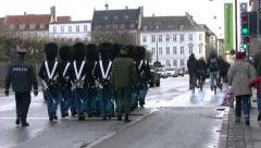Denmark Royal Life Guards march in the streets of Copenhagen Stock Footage