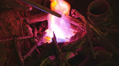 Artificial fire burning Stock Footage