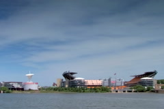 Heinz field and Carnegie Science Center - stock footage