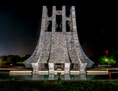 kwame nkrumah memorial park at night - accra, ghana - stock photo