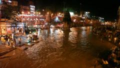 Panaromic view of Haridwar at River Ganges Stock Footage