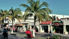 Mexico San Miguel de Cozumel Caribbean Sea 019 shopping street with palm trees Stock Footage