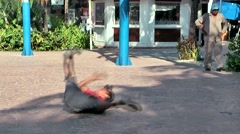 Mexico San Miguel de Cozumel Caribbean Sea 012 citizen guy shows its breakdance Stock Footage