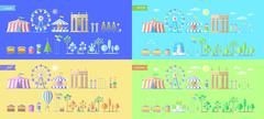 Fair, amusement park all seasons set - stock illustration