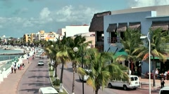 Mexico San Miguel de Cozumel Caribbean Sea 003 waterfront promenade from above Stock Footage