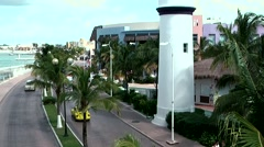 Mexico San Miguel de Cozumel Caribbean Sea 002 plinth of lighthouse and street Stock Footage
