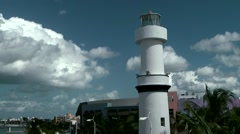 Mexico San Miguel de Cozumel Caribbean Sea 001 lighthouse at the coast road Stock Footage