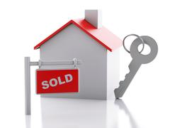 Sold house sign on white background. real estate concept Stock Illustration