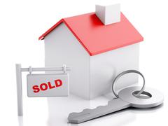 sold house sign on white background. real estate concept - stock illustration