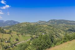 Beautiful day and spring landscape,near bran,transylvania ,romania Stock Photos