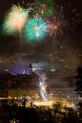 New year fireworks in brasov, romania Stock Photos