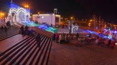 People walk on the square during new year holidays time lapse Stock Footage