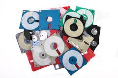 Colored damaged plastic floppy disc Stock Photos