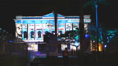 Visual arts projected on Brisbane official building 4K Stock Footage