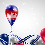 Flag of Cambodia on balloon Stock Illustration