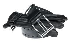 Men's  belt and gloves Stock Photos