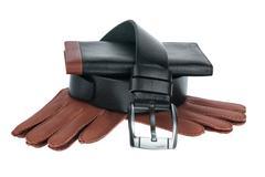 Men's wallet, belt and gloves Stock Photos