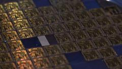 microprocessor raw computer chips on partial wafer laser cut wide - stock footage
