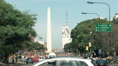 Main Avenue in Buenos Aires with the Obelisk in the Background Stock Footage