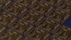 microprocessor raw computer chips on partial wafer laser cut tight - stock footage