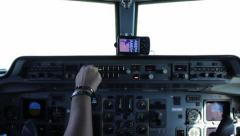 Pilot Airplane Cabin Stock Footage