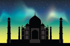 Taj Mahal  with the northern lights Stock Illustration