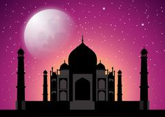 Taj Mahal at starry night - stock illustration