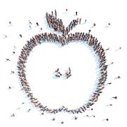 People in the form of an apple. - stock illustration