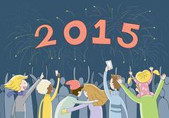 Celebrating New Year 2015 Stock Illustration