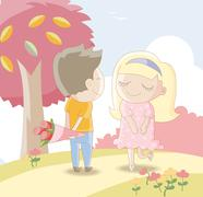 Sweet lovers -Man giving girl a bouquet of roses - stock illustration