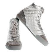 Silver sports footwear Stock Photos