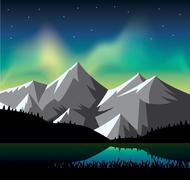 Northern light glowing over the snowy mountains - stock illustration
