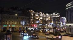 Christmas decorations on the Nevsky Prospekt in St. Petersburg. 4K. Stock Footage