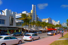 Breakwater hotel along Ocean Drive Stock Footage