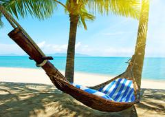 empty hammock between palms trees - stock photo