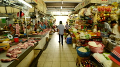 Time Lapse Walk Through of Ben Thanh Market - Ho Chi Minh City (Saigon)  Vietnam Stock Footage