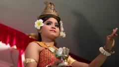 Stock Video Footage of Traditional Apsara dancer in local restaurant in Siem Reap city, Cambodia