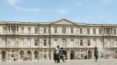 Square Courtyard of  Louvre Palace Stock Footage