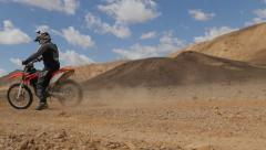 Motocross desert emergency brake 4K Stock Footage