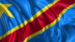 Flag of Democratic Republic of Congo Stock Footage