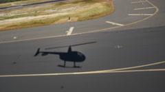Stock Video Footage of shadow, robinson r44, takeoff, honolulu, airport, oahu, hawaii