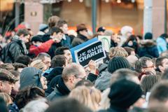 Mass unity rally held in strasbourg following recent terrorist attacks Stock Photos