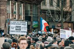 mass unity rally held in strasbourg following recent terrorist attacks - stock photo
